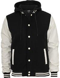 Urban Classics Men's TB438 Hooded Oldschool College Jacket M Blk/Wht