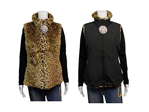 Kristen Blake Ladies Faux Fur Reversible Vest, Small, Tan...