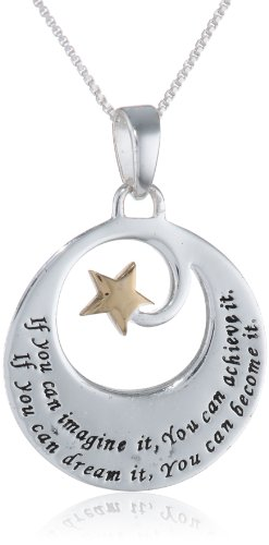 "Two-Toned Sterling Silver with Yellow Gold Flashed ""If You Can Imagine It"" Pendant Necklace, 18"""