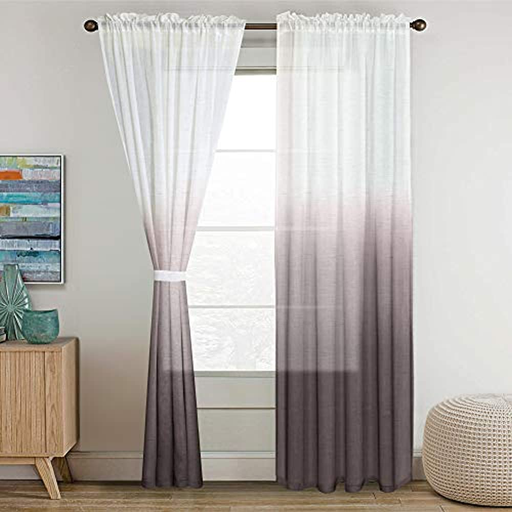 Draperies Curtains Draperies Curtains Turquoize Ombre Curtains Grey Sheer Curtains 84 Inches Long Rod Pocket Natural Linen Blended Sheer Curtain Panels For Living Room Bedroom Set Of 2 Home Decor Home