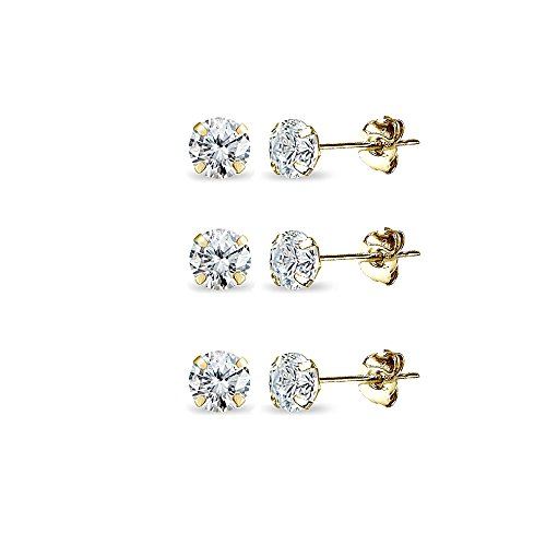 3 Pair Set 14K Gold Cubic Zirconia Tiny 3mm Round Stud Earrings for Men, Women, Boys & Girls by GemStar USA