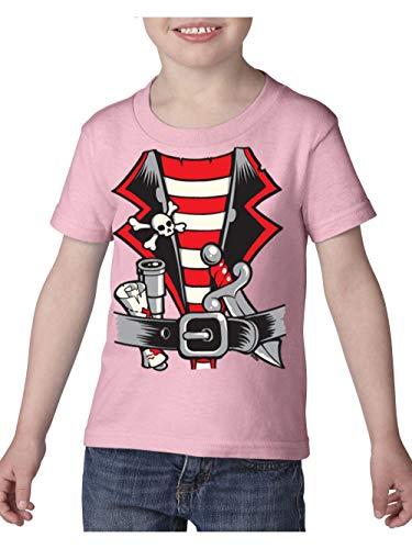 Pirate Birthday Party Halloween Costume Idea Jolly Roger Skull Crossbones Toddler Heavy Cotton Kids Tee (4TLP) Light Pink