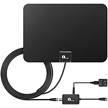 1byone TV Antenna, 50 Mile Range Amplified HDTV Antenna with Detachable Amplifier Signal Booster,