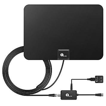 HDTV Antena, 1byone Super fino HDTV Antena Digital para interior - 25 millas Range con 10 m de alto rendimiento Cable Coaxial, diseño muy suave y ligero: ...
