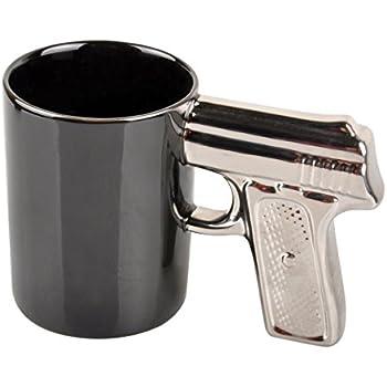 Black silver pistol cup gun mug mug kitchen for Funny shaped mugs