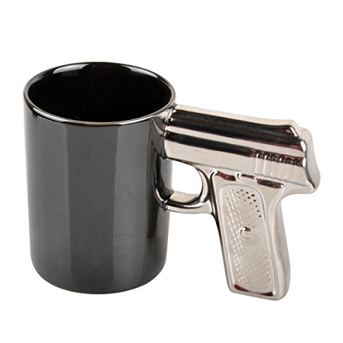HLJgift Novelty Ceramic Coffee Mugs Gun Mugs Pistol Cup for amazing gift Black&Silver -