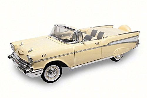 1957 Chevy Bel Air Convertible, Cream - Lucky 92108 - 1/18 Scale Diecast Model Toy Car (Convertible Air Bel Chevy)