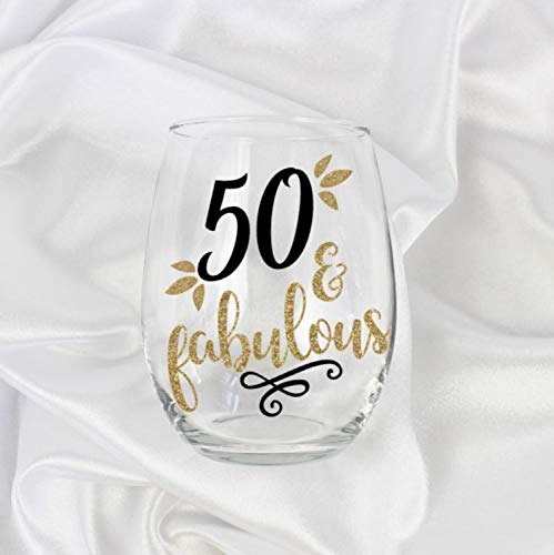 Amazon 50 And Fabulous Gifts For Women Stemless Wine Glass 50th