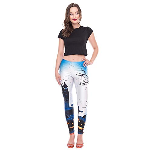 WUAI-Women Yoga Pants Happy Halloween Pumpkin Leggings Skinny Stretchy Pencil Pants(Blue,Small) (Andrew Pant Pleated Chino)