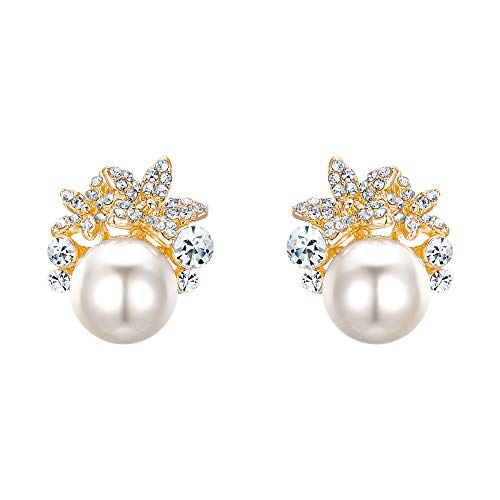 EVER FAITH Gold-Tone Austrian Crystal Ivory Color Simulated Pearl Flower Stud Earrings Clear