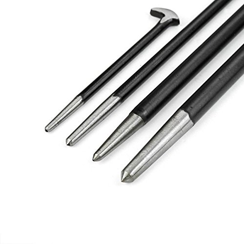 GHP 4-Pcs 6'' 13'' 16'' 20'' Tempered Steel Heel Curved Heal Hend Pry Bar Tool Set