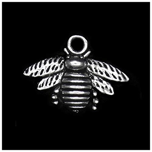Charm Bee Necklace (Pack of 80 Honeybee Charms Pendants Silver Craft Supplies for Jewelry Making Tibetan Accessories for Bracelets Necklace DIY)