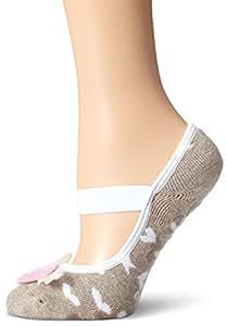 Lupo Women's Flying Heart Non Slip Grip Socks, One Size, Beige Blend