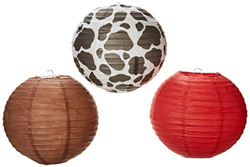 Amscan 241971 3ct) Western 'Yeehaw' Paper Lanterns Party Supplies (3 ct) 9.5 inch Multi ()