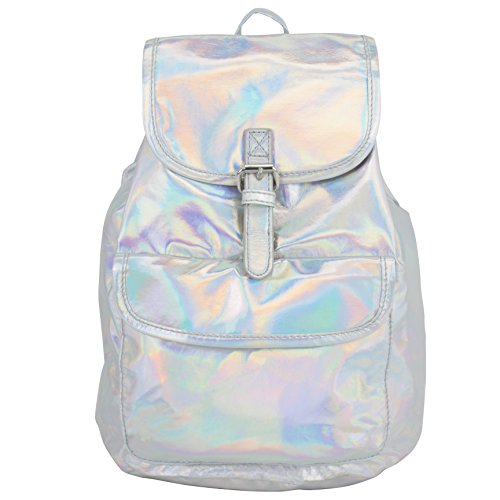bjx-iridescent-silver-holographic-flap-backpack