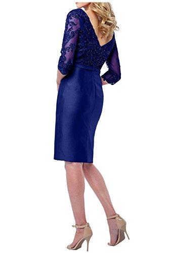 Knielang Etuikleider Partykleider Blau Charmant Kurz mit Dunkel Brautmutterkleider Royal Ballkleider Abendkleider Damen Langarm wnE1fx1qR