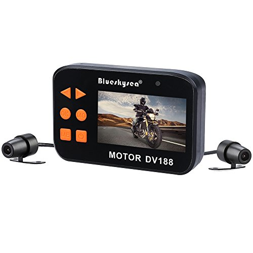 Blueskysea DV188 Motorcycle Recording Camera 1080p Dual Lens Video Driving Recorder Motorbike Dash Cam Sports Action Camera 2.7' LCD Screen 130 Degree Angle Night Vision