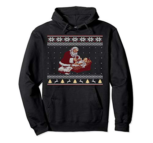 Santa Claus And Baby Jesus At The Manger Christmas Hoodie