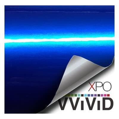 VViViD XPO Gloss Liquid Metal Dark Blue Vinyl Car Wrap Adhesive Film (1ft x 5ft): Automotive