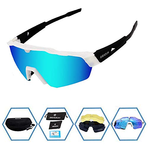 GIEADUN Sports Sunglasses Protection Cycling Glasses with 4 Interchangeable Lenses Polarized UV400 for Cycling, Baseball,Fishing, Ski Running,Golf (White Black)