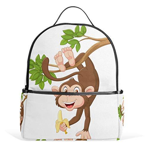 Monkey School Backpack - Auskid Monkey Backpack School Bookbag for Girls Boys Kids