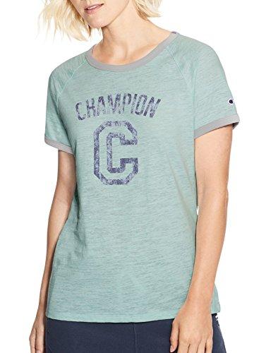 Champion Women's Heritage Ringer Tee, Blue Spearmint Heather/Oxford Grey Heather, (Ladies Heather Ringer)