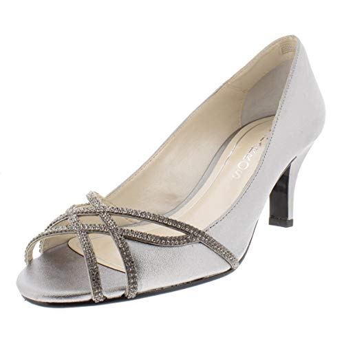 Caparros Womens Eliza Leather Peep Toe Classic Pumps, Pewter Metallic, Size 7.5