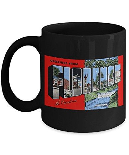 (Greetings from Florence South Carolina, Vintage Large Letter Postcard Design: Ceramic Coffee Mug)