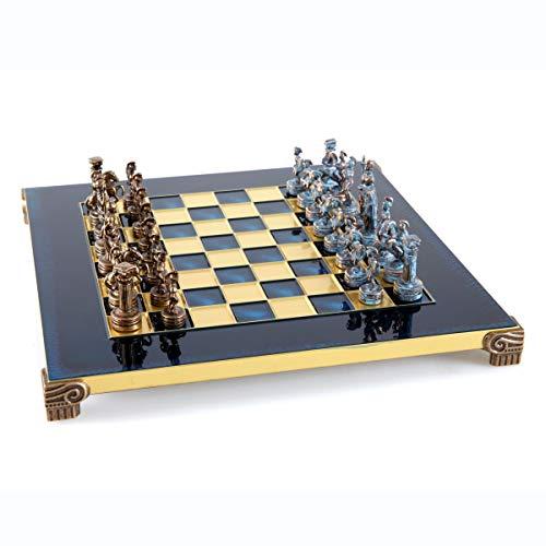 Juego de ajedrez del ejército romano griego – azul y cobre con tabla azul