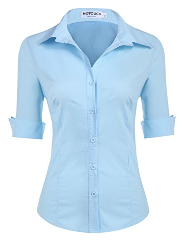 Hotouch Women Slim Fit Solid Lapel Collar Dress Shirt (Light Blue L) -