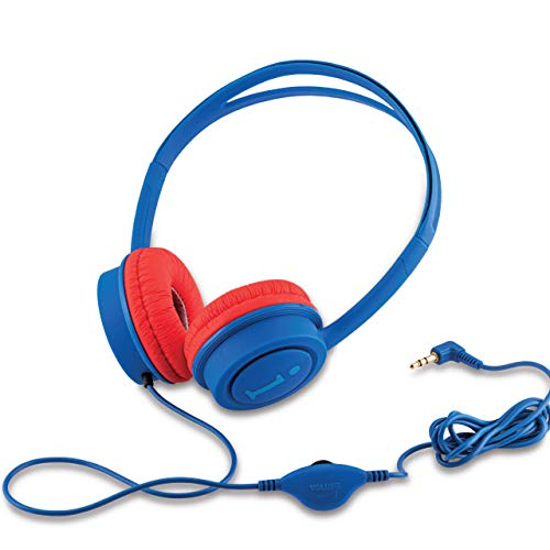 iBall Kids Star Kids Safe Wired Headphone with in line Volume Controller -Dark Blue and Red