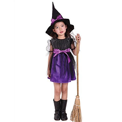 Toddler Kids Baby Girls Halloween Clothes Costume Dress Party Dresses+Hat Outfit (120/7T, Purple)