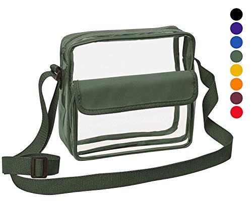 (Clear Crossbody Messenger Shoulder Bag with Adjustable Strap NFL Stadium Approved Transparent Purse (Green))