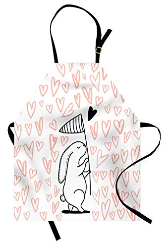 Lunarable Nursery Apron, Graphic of Bunny Catching Hearts with Scoop Net, Unisex Kitchen Bib Apron with Adjustable Neck for Cooking Baking Gardening, Peach Charcoal Grey and White