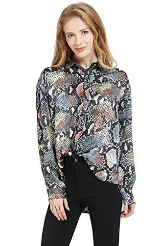 Tronjori Womens Oversized Long Sleeve Button Down Leopard Snake Zebra Animal Print Shirt Blouse (XS,Green - Print Animal Zebra Green