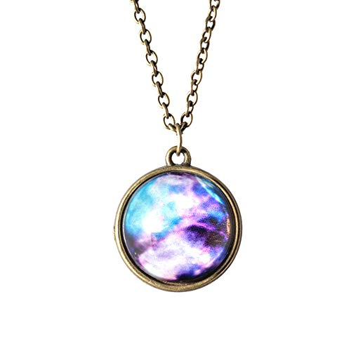Halloween Hot Sale!!!Kacowpper Galaxy Necklace,Solar System Necklace Pendant Planet Necklace Galaxy Double Sided Glass Dome Valentine