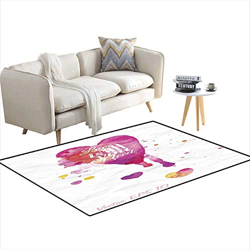 Kids Carpet Playmat Rug Watercolor Valentines Day Heart Lettering Love is All You Need 3'x18'