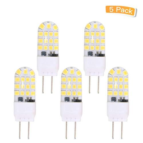 5 Base LED Light Bulbs(5 Pack)- 110V Daylight White 6000K T3/T4 JC Type LED Bulb 40W Halogen Replacement Bulb for Desk Lamp Accent Chandelier Light Landscape Lighting ()