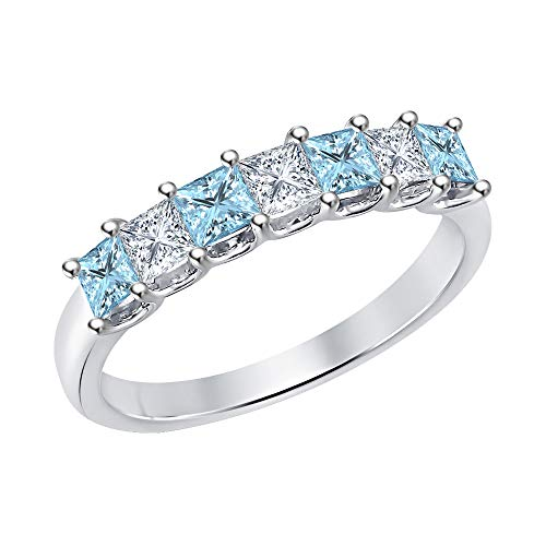 Princess Cut Aquamarine & Diamond Half Eternity 14k White Gold .925 Sterling Silver Wedding 7-Stone Band Ring for Women