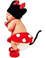 Mixmax Fashion Unisex Newborn Boy Girl Crochet Knitted Baby Costume Set Photography Photo Prop Outfits (Mickey Mouse)