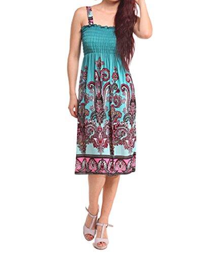 Zimaes Women's Printing Slip Fitted Beach Fashion Sundress Sky Blue M