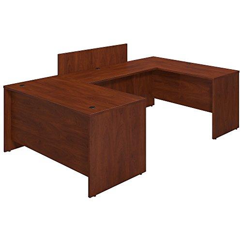 Bush Business Furniture Series C Elite 60W x 30D U Station Desk Shell with Privacy Bridge in Hansen Cherry