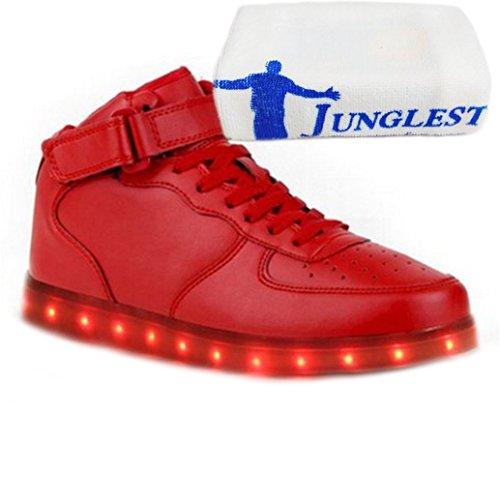 (Present:kleines Handtuch)JUNGLEST® 7 Farbe USB Aufladen LED Leuchtend High-Top Sport Schuhe Sportschuhe Sneaker Turnschuhe für Unis Rot