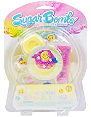 Sugar Bombs by Horizon Group USA, Design & Decorate Your Own Emoticon Themed Fizzing Bomb. Fizz In Bowl to Revel Hidden Surprise Gift. Embellish with Glitter, Confetti, Sprinkles & More. Yellow & Pink