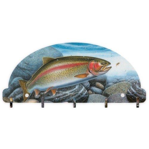 Rainbow Trout Fish Key Rack 5 Hook Metal Wall Art Lodge Fishing Fisherman