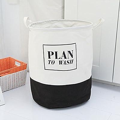 Luckyfree Panier à linge en coton d'vêtements sales jouets Panier Panier de rangement, snack-Débris Noir L40 * 50