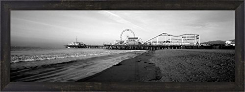 Santa Monica Pier, California by Panoramic Images Framed Art Print Wall Picture, Espresso Brown Frame, 30 x 11 - Monica Beach Santa Is Clean
