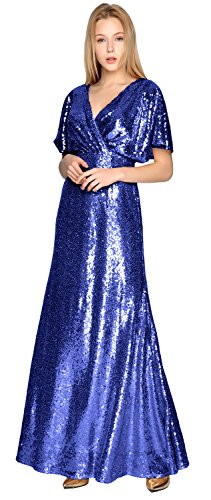 Short Neck V Wedding Gorgeous Blue Sequin Royal Gown Sleeve Formal MACloth Bridesmaid Dress Party 5wxFYqxB
