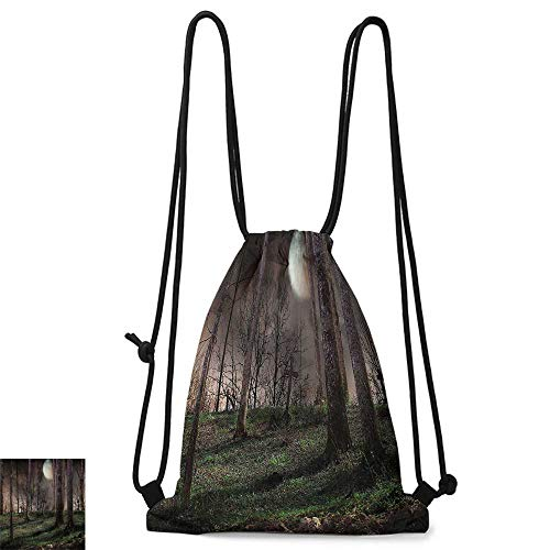 Gym backpack Gothic Decor Collection Dark Night in the Forest with Full Moon Horror Theme Grunge Style Halloween Photo W14