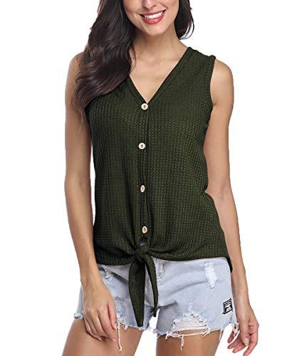 (Jusfitsu Sleeveless Button Up Baggy Shirts Knit Tank Tops for Women Green M)